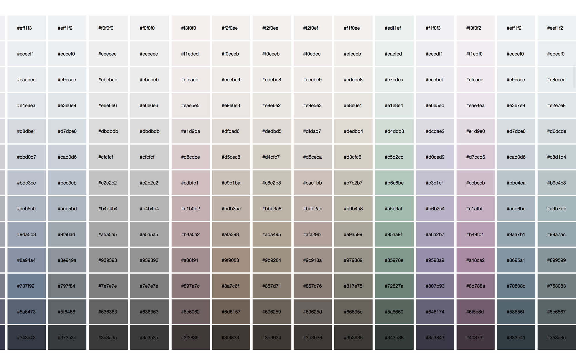 Heavily muted palette