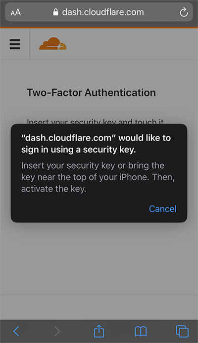 Cloudflare now supports security keys with Web Authentication (WebAuthn)!